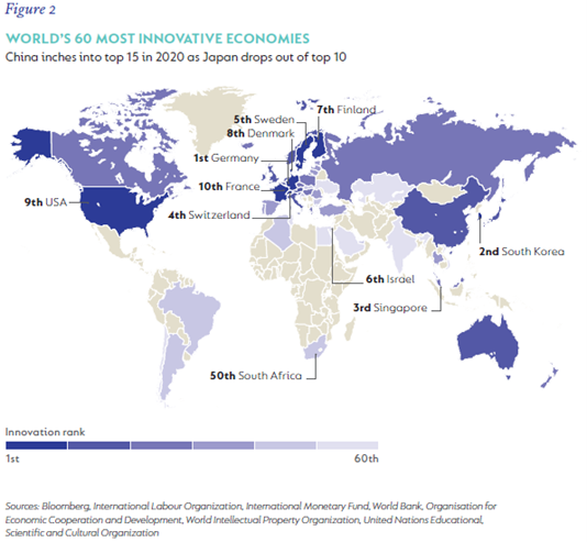 Map Chart showing the worlds 60 most innovative counties